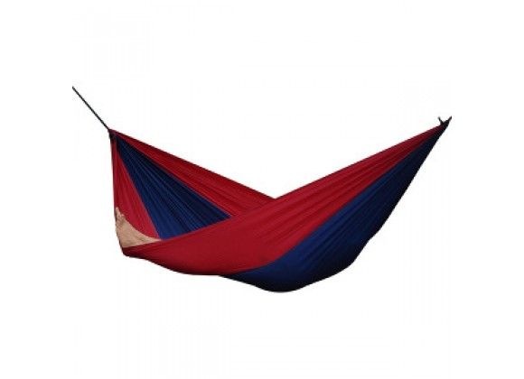 Vivere Parachute Nylon Hammock - Double in Navy/Red Fabric