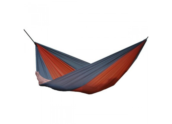 Vivere Parachute Nylon Hammock - Double in Gray/Orange Fabric