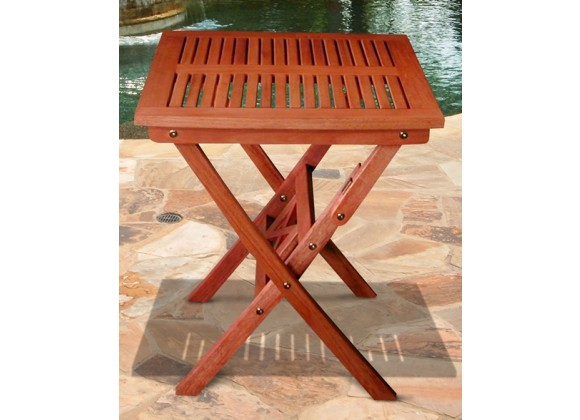 Vifah Modern Patio Outdoor Eucalyptus Wood Folding Bistro Table