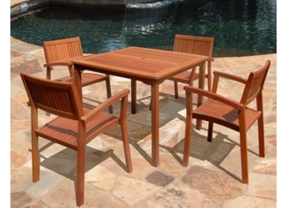 Vifah Modern Patio 5-Piece Outdoor Eucalyptus Wood Dining Set