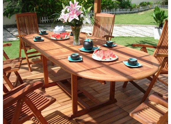 Vifah Modern Patio 7-Piece Outdoor Eucalyptus Wood Dining Set with Oval Extension Table