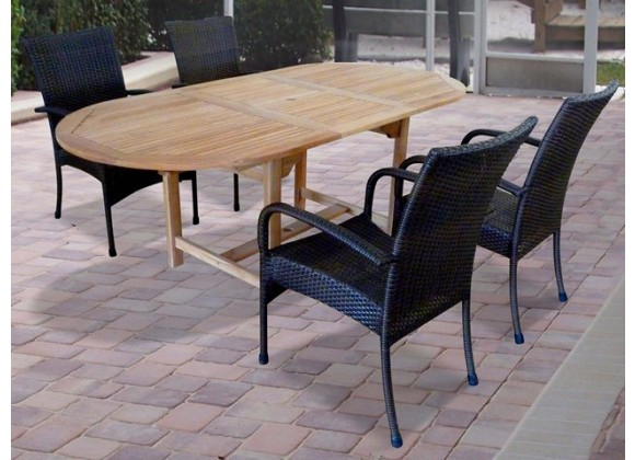 Vifah Modern Patio 5-piece Outdoor Dining Set With Oval Table and 4 Dining Chairs with Arms