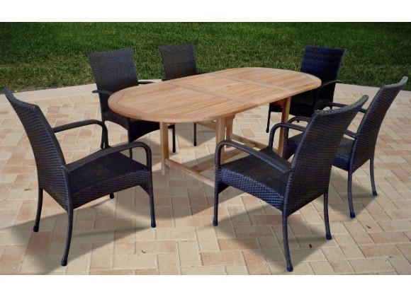 Vifah Modern Patio 7-piece Outdoor Dining Set With Oval Table and 6 Dining Chairs with Arms