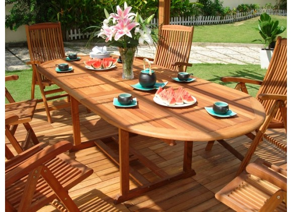 Vifah Modern Patio 9-Piece Outdoor Wood Dining Set with Oval Extension Table and 8 Eucalyptus Wood Dining Chairs