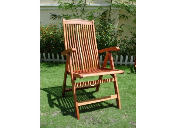 Vifah Modern Patio Outdoor Wood Folding Arm Chair with Multiple-Position Reclining Back