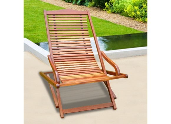 Vifah Modern Patio Outdoor Eucalyptus Wood Reclining Folding Lounge Chair