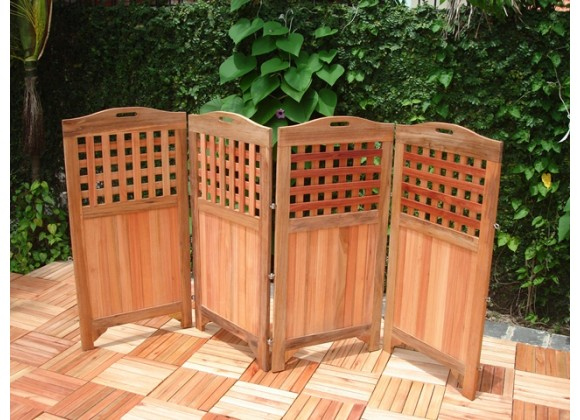 "Vifah Modern Patio 48"" Outdoor Wood Privacy Screen with 4 Panels in Teak Finish"