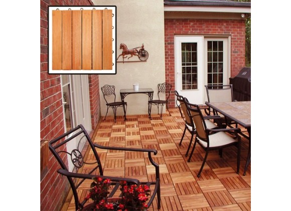 Vifah Modern Patio Interlocking Deck Tiles with 6 Slat Design in FSC Eucalyptus (Set of 10)