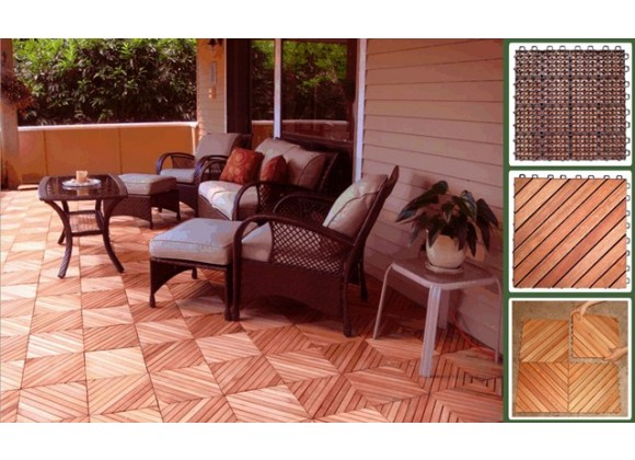Vifah Modern Patio Interlocking Deck Tiles with 12 Diagonal Slat Design in FSC Eucalyptus (Set of 10)