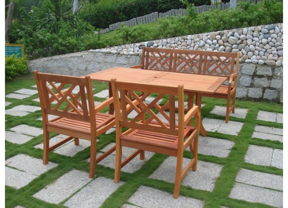 Vifah Modern Patio Outdoor Eucalyptus Wood Dining Set with Design Back Bench, 2 Chairs, and Patio Dining Table