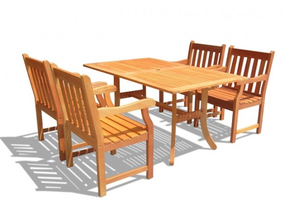Vifah Modern Patio Eucalyptus Wood Outdoor Rectangular Curvy Dining Set and 4 Dining Chairs