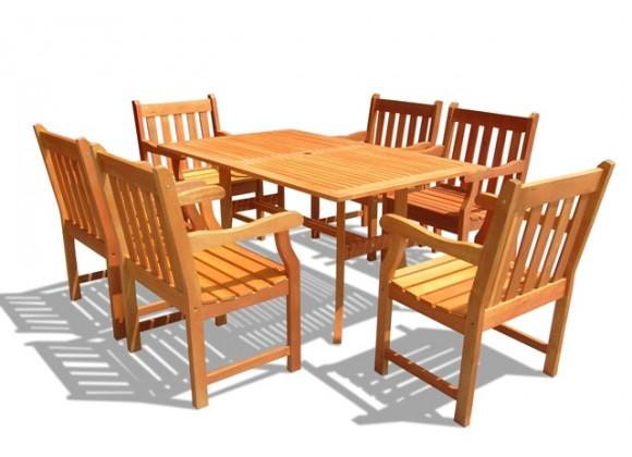 Vifah Modern Outdoor Rectangular Curvy 7-Piece Dining Set