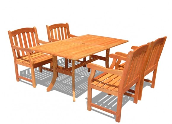 Vifah Modern Outdoor Rectangular Curvy 5-Piece Dining Set