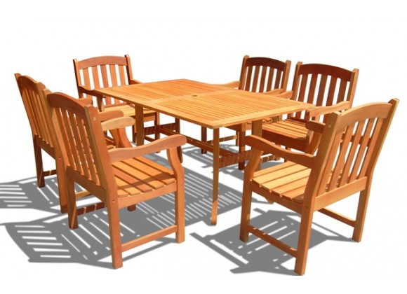 Vifah Modern Patio Eucalyptus Wood Outdoor Rectangular Curvy Dining Set with 6 Slatted Back Dining Chairs with Curved Top and Patio Table