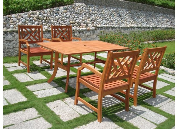 Vifah Modern Patio 5-Piece Outdoor Eucalyptus Wood Dining Set with Design Back Chairs and Patio Dining Table