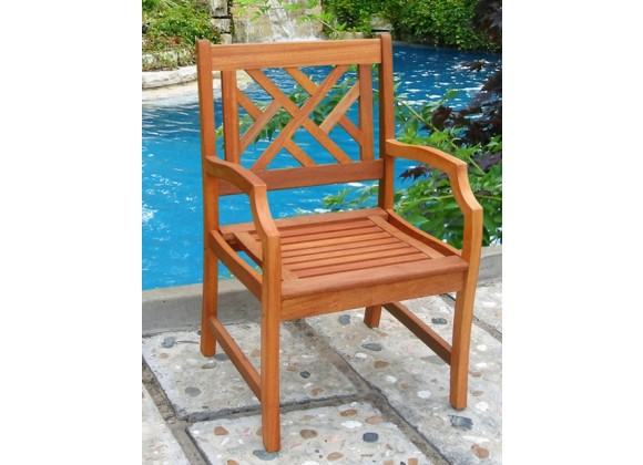 Vifah Modern Patio Outdoor Eucalyptus Wood Arm Chair with Design Back
