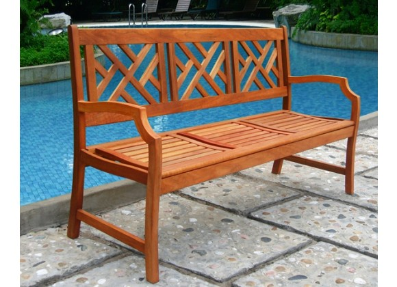 Vifah Modern Patio Outdoor Eucalyptus Wood Bench with Design Back