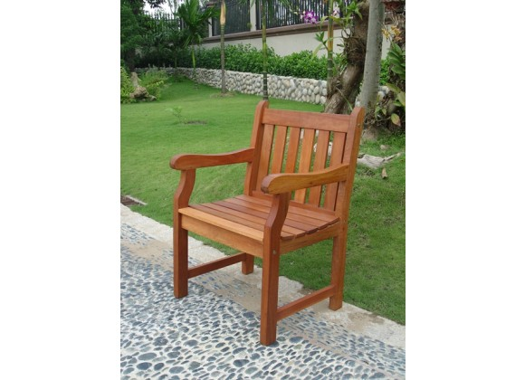 Vifah Modern Patio Outdoor Eucalyptus Wood Arm Chair with Slatted Back