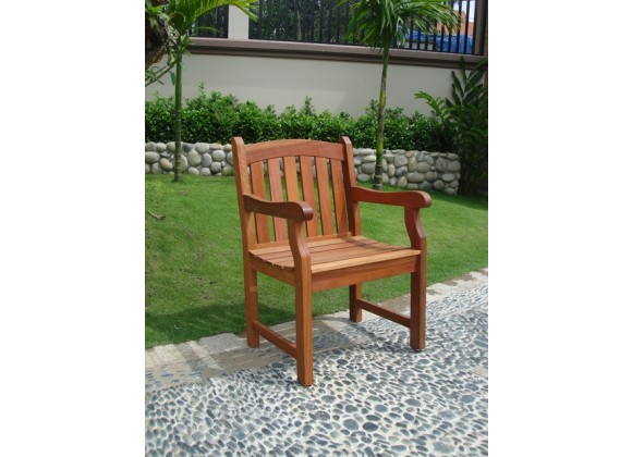 Vifah Modern Patio Outdoor Eucalyptus Wood Arm Chair with Slatted Back and Curved top