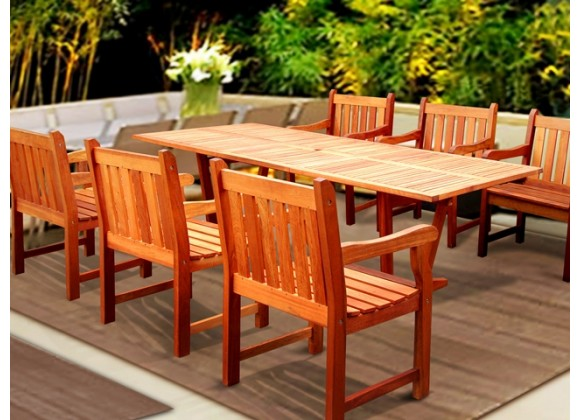 Vifah Modern Patio 7-Piece English Garden Eucalyptus Wood Dining Set with Rectangular Extension Table and 6 Dining Chairs