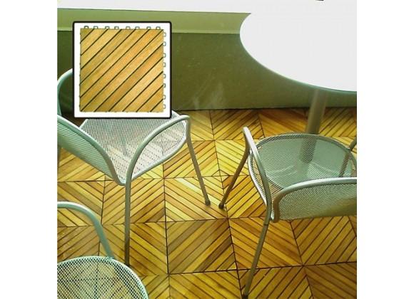 Vifah Modern Patio Interlocking Deck Tiles with 12 Diagonal Slat Design in Acacia Plantation Hardwood (Set of 10)