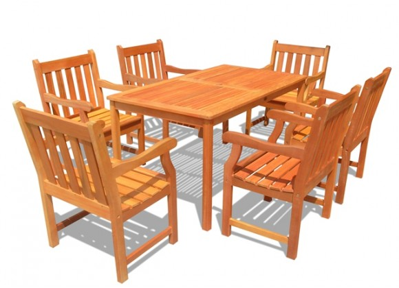 Vifah Modern Patio Outdoor Wood English Garden Dining Set with 6 Slatted Back Chairs and Dining Table