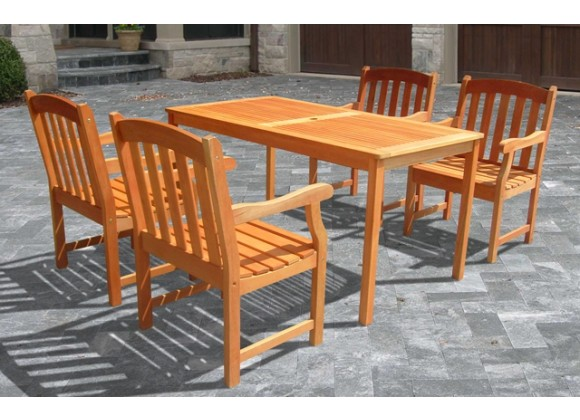 Vifah Modern Patio Outdoor Wood English Garden Dining Set with 4 Slatted Back Chairs and Dining Table
