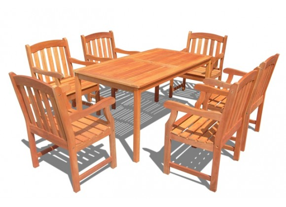 Vifah Modern Patio Outdoor Wood English Garden Dining Set with 6 Curved Top Slatted Back Dining Chairs and Table