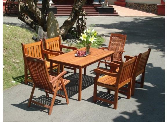 Vifah Modern Patio 7-Piece Outdoor Eucalyptus Wood Dining Set