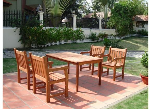 Vifah Modern Patio 5-Piece English Garden Eucalyptus Wood Dining Set