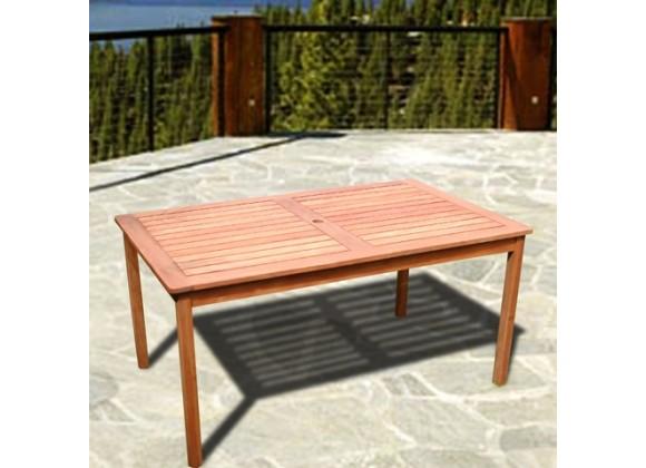 Vifah Modern Patio Outdoor Eucalyptus Wood Rectangular Table