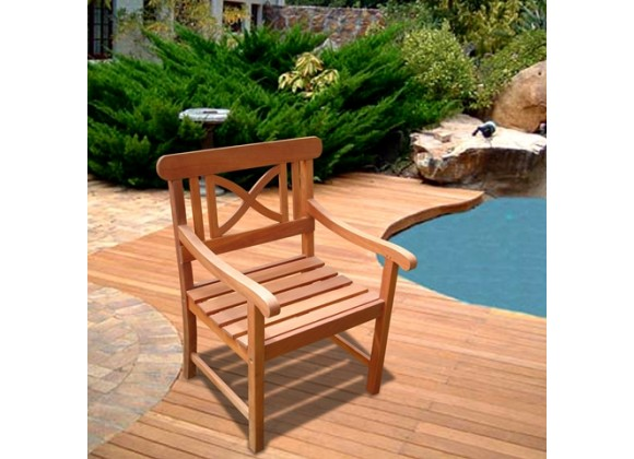 Vifah Modern Patio Outdoor Eucalyptus Wood Arm Chair with X Back Design