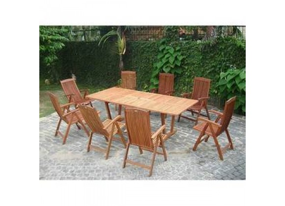 Vifah Modern Patio 9-Piece Outdoor Wood Dining Set with Extension Table and 8 Eucalyptus Dining Chairs