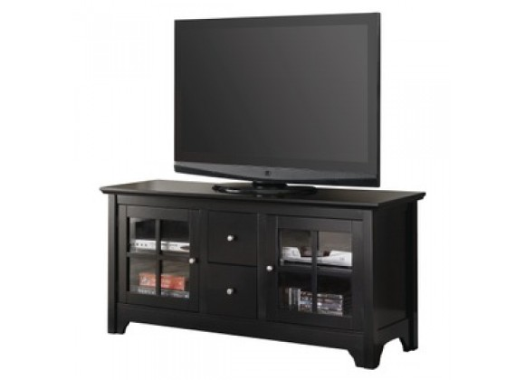 "Walker Edison 52"" Wood TV Console w/ Two Drawers - Matte Black"