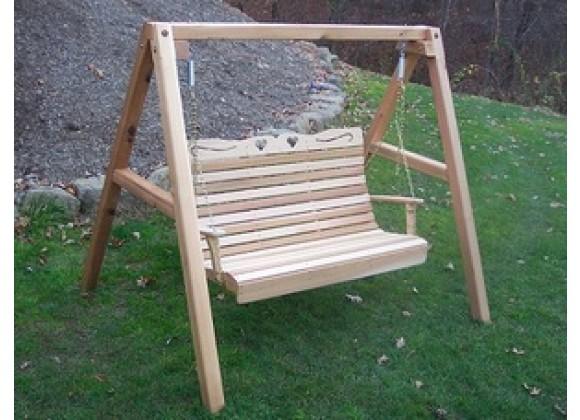 Creekvine Designs Cedar Royal Country Hearts Porch Swing w/Stand