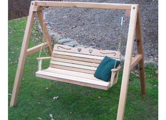 Creekvine Designs Cedar Country Hearts Porch Swing w/Stand