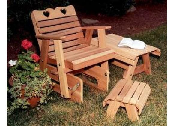 Creekvine Designs Cedar Country Hearts Rocking Glider Chair
