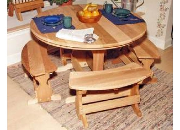Creekvine Designs 35-Inch Cedar Round Trestle Dining Set