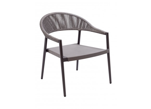 Powder Coated Aluminum Frame Lounge Chair W/ Textilene Seat and Polypropylene Back -