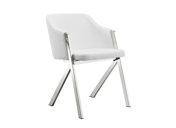 ACORN Collection White Eco-Leather Arm Dining Chair