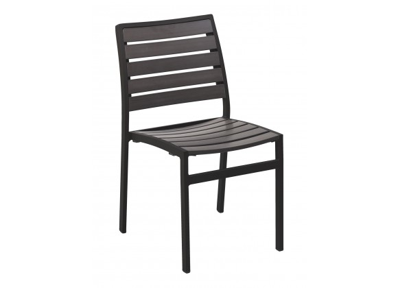 Powder Coating Aluminum Side Chair W/ Textile Back and Seat - Faux Gray Teak