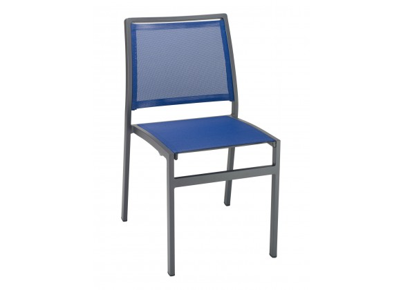 Powder Coating Aluminum Side Chair W/ Textile Back and Seat - AL-5724S - Anthracite and Blue