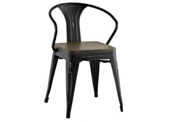 Aron Livng Tolix Wood Seat Arm Chair