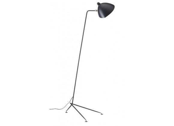 Gyoza Single Floor Lamp In Matte Black Aluminum Shade With Brass Hardware