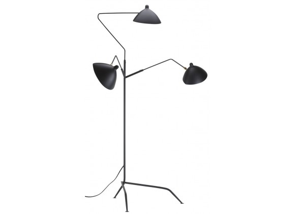 Gyoza Triple Floor Lamp In Matte Black Aluminum Shade