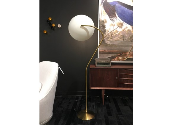 Horizon Floor Lamp White Aluminum Shade with Brass Plated Stem