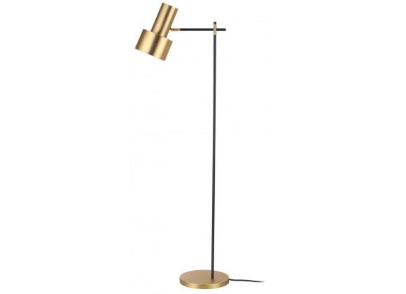 Magnum Floor Lamp Brass Plated Steel Shade with Matte Black Stem