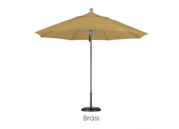 California Umbrella 9' Fiberglass Market Umbrella Pulley Open Silver Anodized - Sunbrella