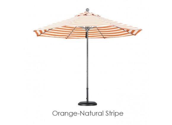 California Umbrella 9' Fiberglass Market Umbrella Pulley Open Silver Anodized - Olefin
