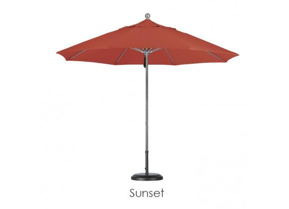 California Umbrella 9' Fiberglass Market Umbrella Pulley Open Silver Anodized - Pacifica
